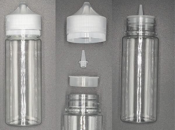 Weithalsflasche 120ml Pet Unicorn Leerflasche Flasche transp. + transparenter Deckel
