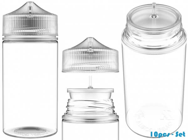 Chubby Gorilla 200ml V3 Pet Unicorn Leerflasche Flasche transp. + transparenter Deckel - 10er Set