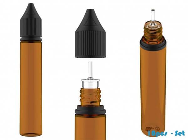 Chubby Gorilla 30ml V3 Pet Unicorn Leerflasche Flasche Amber + schwarzer Deckel - 10er Set